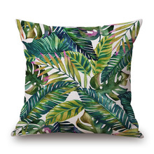 Tropical Plants Printed Square Shaped Pillow Cases