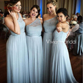 One Shoulder Lace Bridesmaid Dresses Long A Line Chiffon Floor Length Wedding Formal Wear Vestido madrinha 2017 Zipper Back
