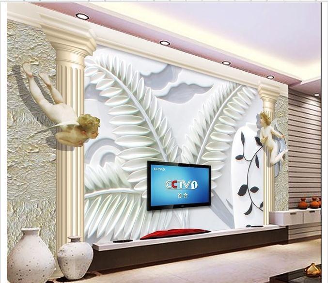 personnalis 3d photo papier peint 3d tv peintures murales de papier peint fleur pierre anges. Black Bedroom Furniture Sets. Home Design Ideas