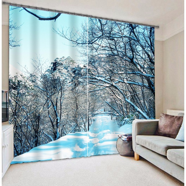Winter Snow Trees Modern Luxury Christmas 3D Blackout Curtains For Bedding room Living room Decorative Drapes Cortinas ParaWinter Snow Trees Modern Luxury Christmas 3D Blackout Curtains For Bedding room Living room Decorative Drapes Cortinas Para