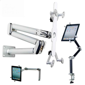 Image 3 - Tablet מחזיק מהדק שולחן מתקפל תכליתי רכב Stand אלומיניום 360 סיבוב קיר הר מיטת סוגר עבור iPad אוויר מיני 7 11