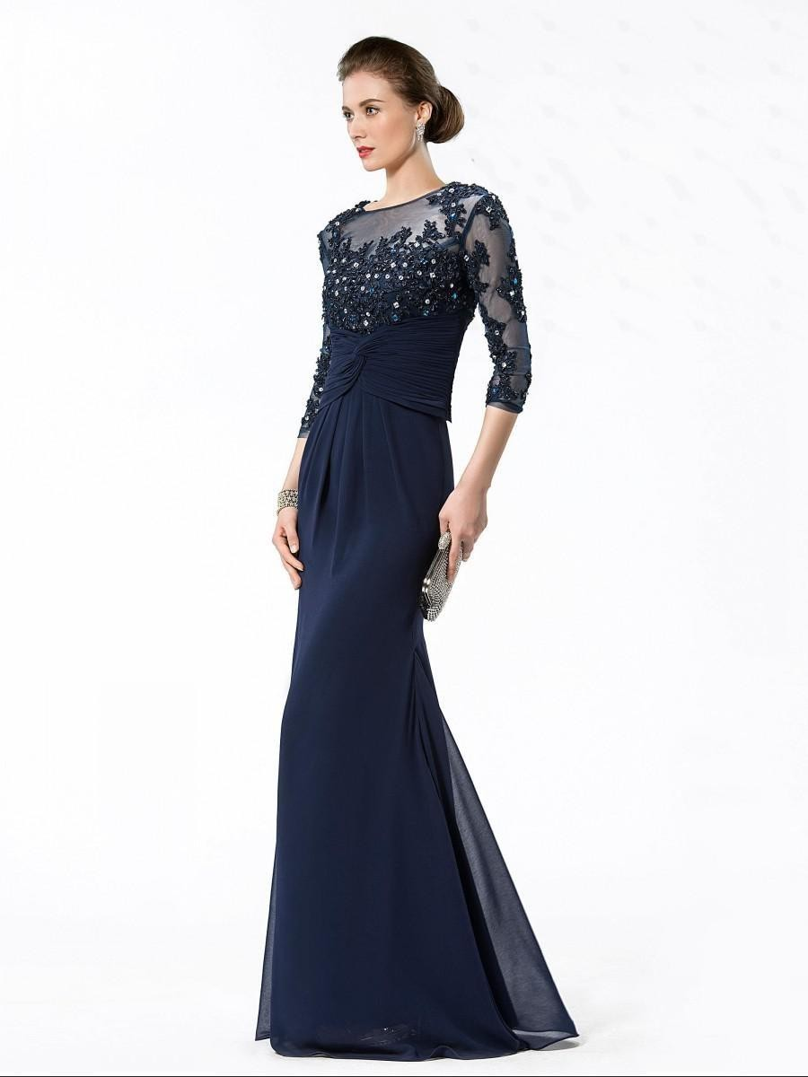 2017 Vestido De Festa Lique Flowers Prom Gowns Vogue Vintage Three Quarter Sleeve Sheer Beaded Chiffon Formal Evening Dresses In From