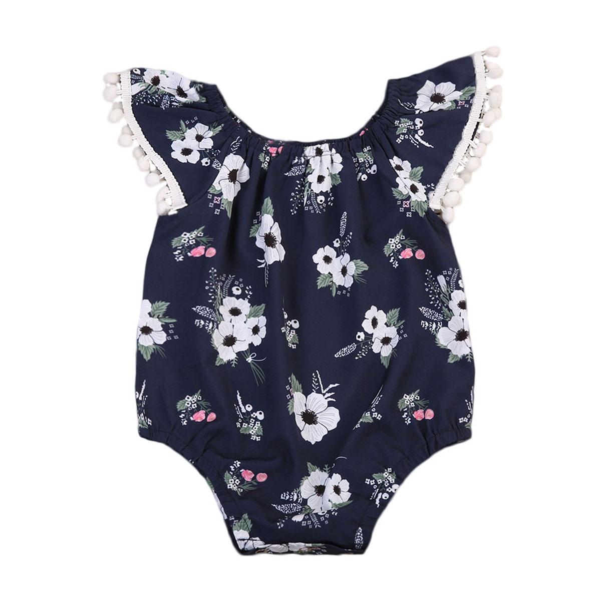Infant gilrs Lace Sleeve clothing Newborn Floral Romper Jumpsuit Navy Blue Playsuit Sunsuit 0-18M