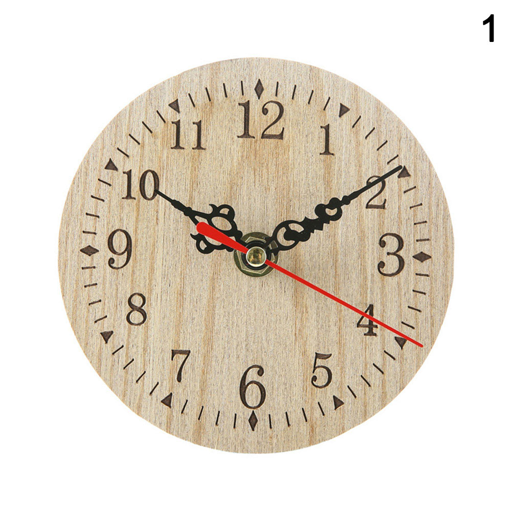 Small Wooden Wall Clock Vintage Chic Kitchen Office Living Room Decor Xhc88
