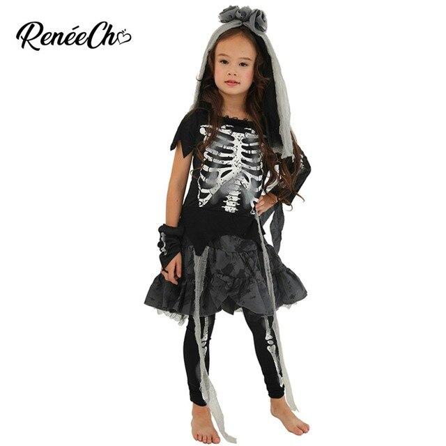 Trajes de halloween para crianças vestidos de fantasia meninas esqueleto traje da noiva criança ossos traje menina fantasma preto vampiro cosplay