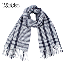 Winfox Good Texture White Navy Winter Plaid Scarf for Women Long Warm Tippet Female Wool Knitted Tassel Shawl Wrap With Fringe