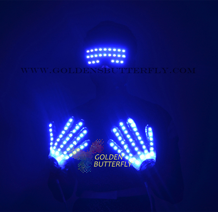 LED Gloves Clothes Luminesce Glasses 2017 New Clothing DJ Party Props Hot Dance For Men's Fashion Glowing Glasses Gloves