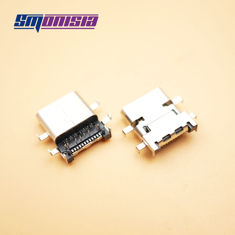 Smonisia 100pcs 24P USB Female Connector 3.1 Type-C 1.98 mm Pitch 12 15 High Frequency Heavy Plate 4Pins 90Degree Socket