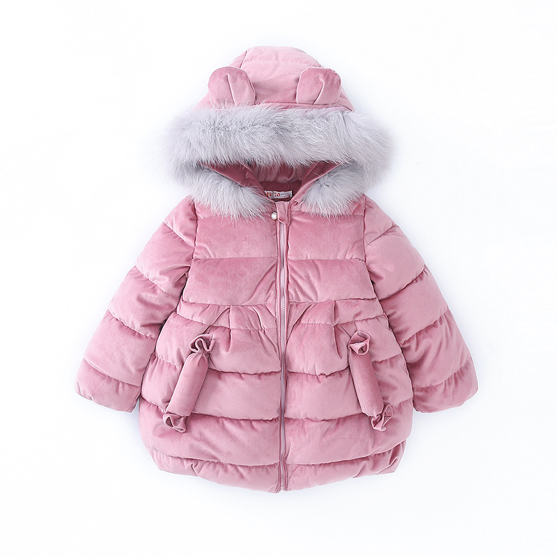 Baby Girls Cotton-padded Clothes Winter Thick Fur Hooded Kids Parkas&Down Korean Solid Fashion Zipper Outerwear Girl Jacket/Coat girl duck down jacket winter children coat hooded parkas thick warm windproof clothes kids clothing long model outerwear
