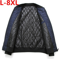 8XL 7XL 6XL plus size Fashion Zipper stand collar men winter coat 2018 new parkas short solid color clothing winter jacket men