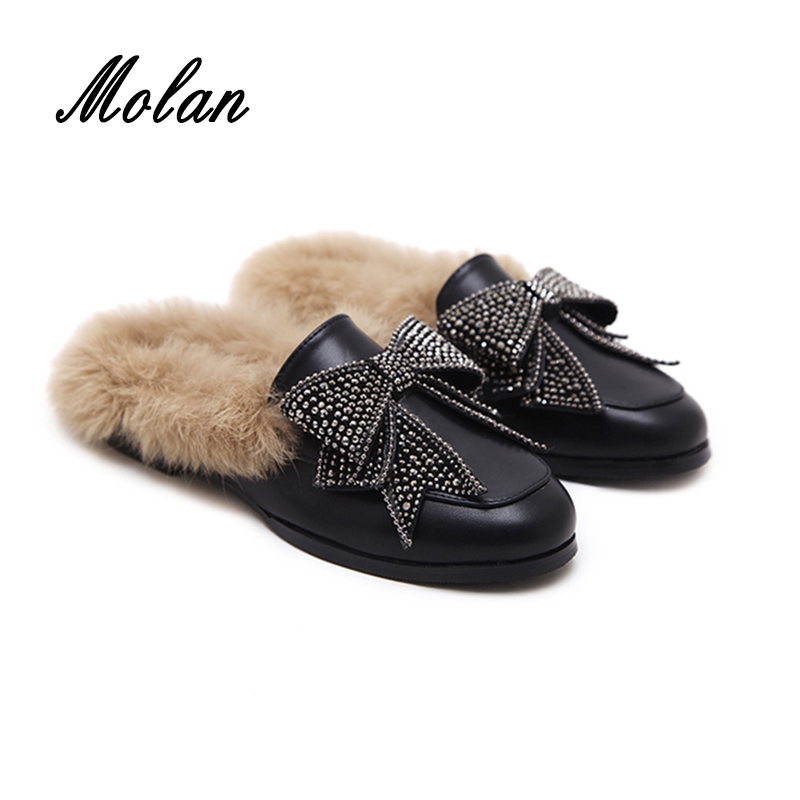 MOLAN Genuine Leather Butterfly knot Flat Slippers Rhinestone Winter Shoes Women Designers Loafers Slip On Fur Slides Mules