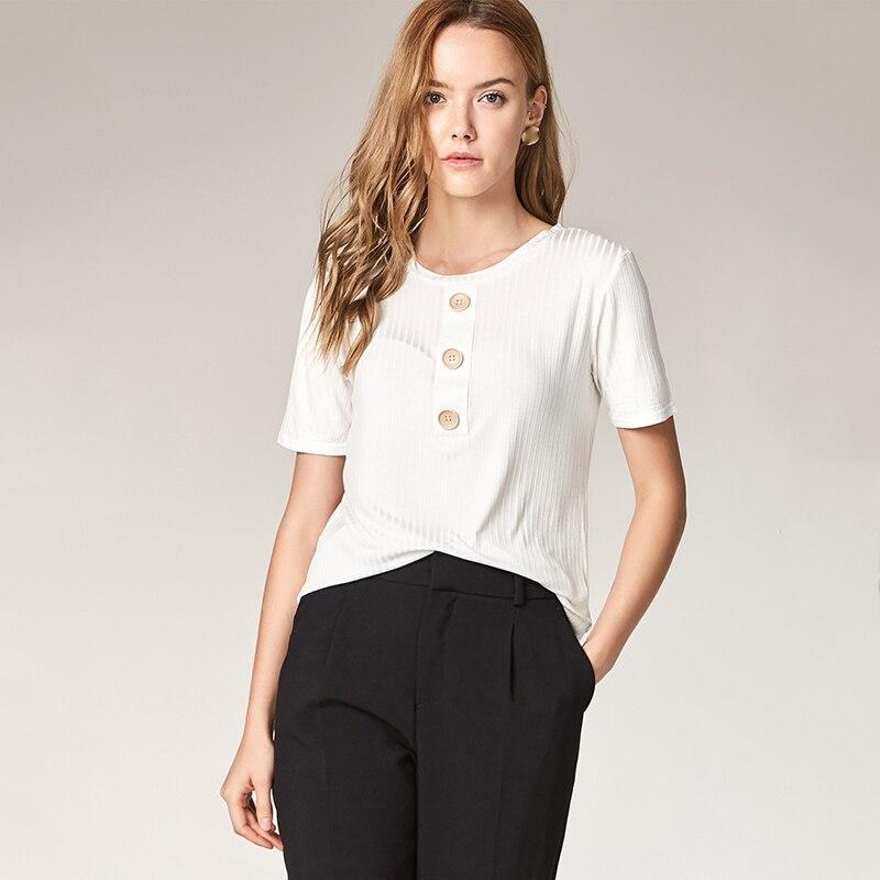 ESCALIER Sommer Kvinder Casual Shirt Fashion Tops Tees Rayon Button - Dametøj - Foto 2