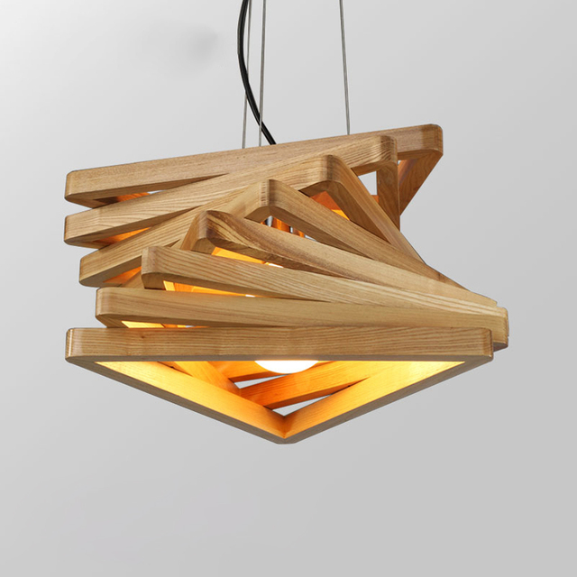 Creative design lamp spiral wood pendant lights wooden hanging light ...