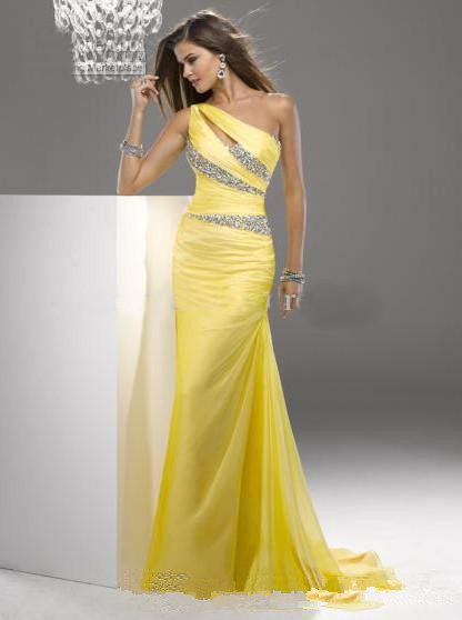 High Quality Charming A-line Floor Length Beaded Yellow Bridesmaid Dresses 2016 Chiffon Prom Dresses