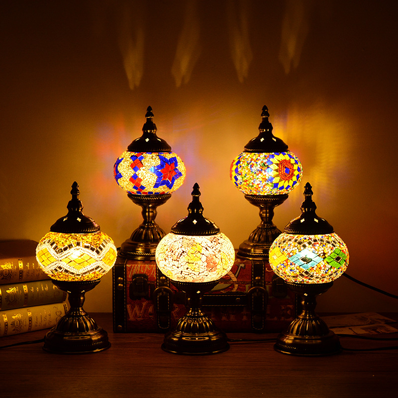 Artpad Retro Romantic Manual Coloured Turkish Table Lamp E14 Bulb Included 110 220V for Bar Resturant Party Coffee Shop Lighting