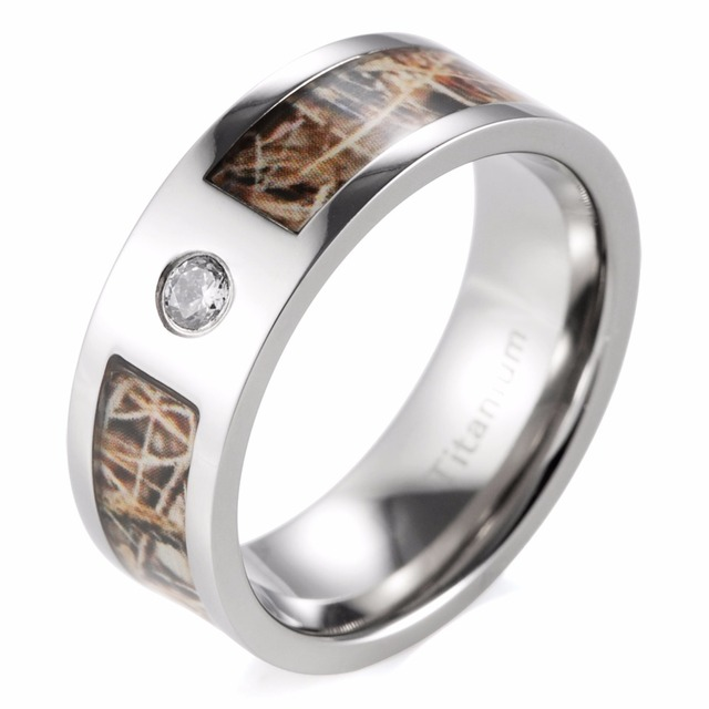 SHARDON 8mm Mens Realtree Max 4 Camo Wedding Ring With Polished Finish And CZ Inlay