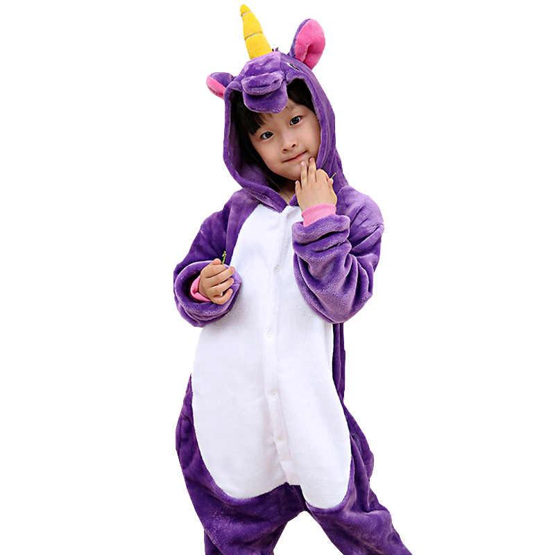 Новые зимние фланелевые детские пижамы единорог костюм Рождество Косплэй Единорог  детские 72dbae729b58a