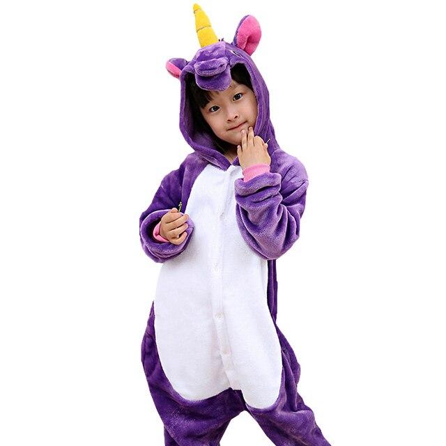 1524df8cf0 Nuevo invierno de franela pijamas de los niños de traje de Cosplay de unicornio  bebé niños