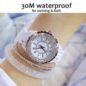 Image 3 - 2018 top marke luxus armbanduhr für frauen weiß keramik band damen uhr quarz mode frauen uhren strass schwarz BS