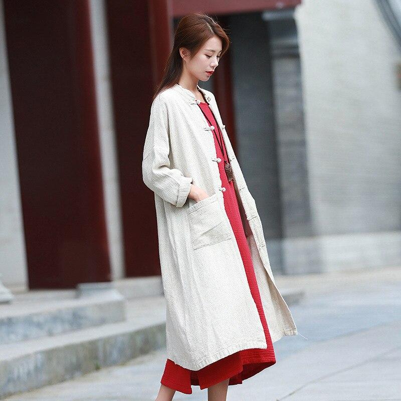 ORIGOODS Plus size Linen Long Shirt Women Autumn 2018 Chinese style Long Blouse Women Vintage Linen Shirt Outwear Tops C186