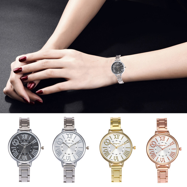 Durable Casual Ultra-thin Fabala Round Case Exquisite Analog Wristwatch Watch 5