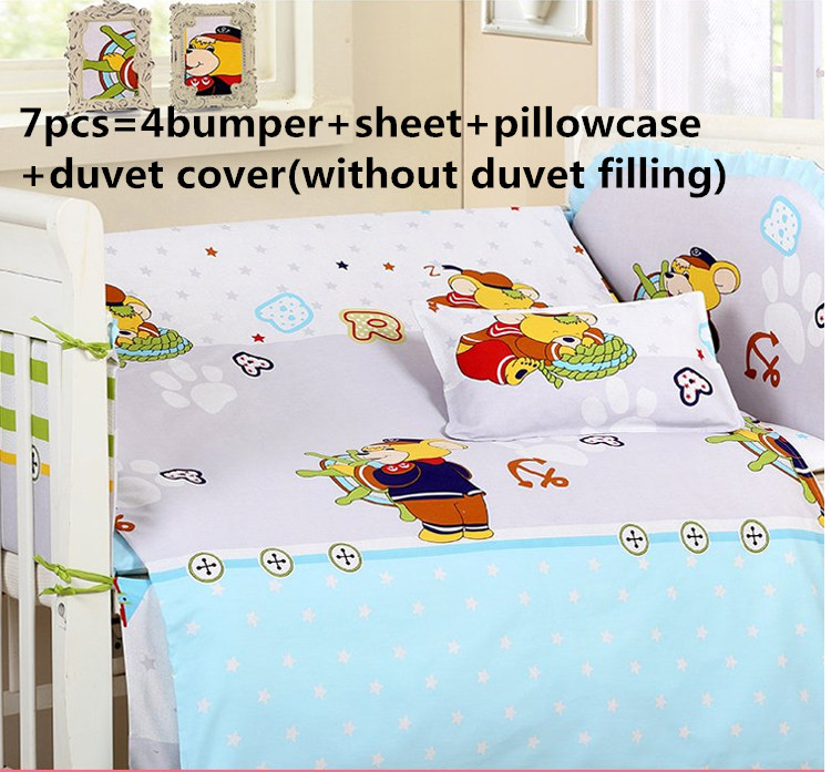 Promotion! 6/7PCS Cartoon Lovely baby bedding set for baby cot sheets cuna baby bumper,120*60/120*70cmPromotion! 6/7PCS Cartoon Lovely baby bedding set for baby cot sheets cuna baby bumper,120*60/120*70cm