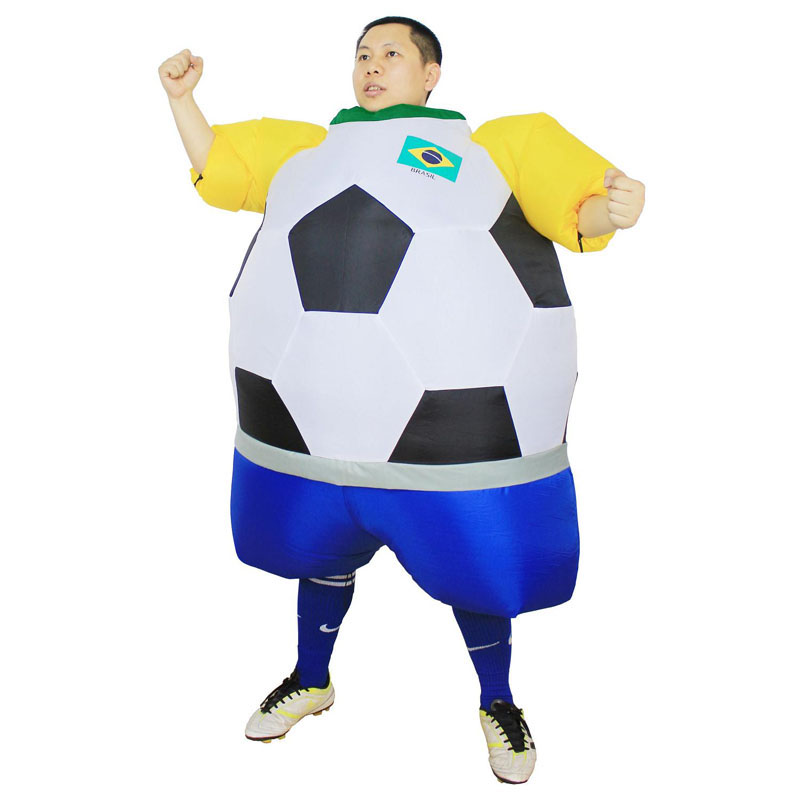 Brasil Inflatable Foot ball Costume New Styles soccer Brazil National Team Air Blower Foot ball Carnival Party Costume