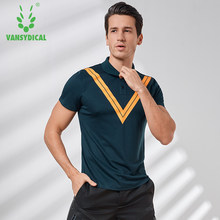 Vansydical Men's Sports Shirts Stand Collar Tennis Training Jerseys V Printed Breathable Male Outdoors Excise Jogging Tops(China)