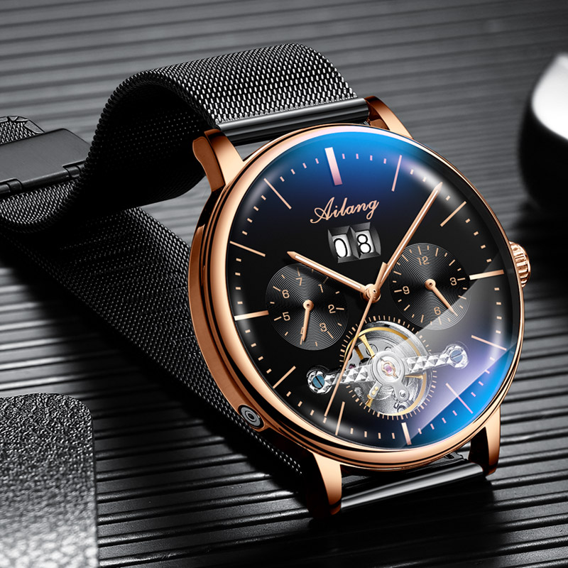 AILANG Skeleton Tourbillon Mechanical Watch Men Automatic Classic Rose Gold Leather Mechanical Wrist Watches Reloj Hombre 2018AILANG Skeleton Tourbillon Mechanical Watch Men Automatic Classic Rose Gold Leather Mechanical Wrist Watches Reloj Hombre 2018