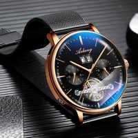 AILANG Skeleton Tourbillon Mechanical Watch Men Automatic Classic Rose Gold Leather Mechanical Wrist Watches Reloj Hombre 2018