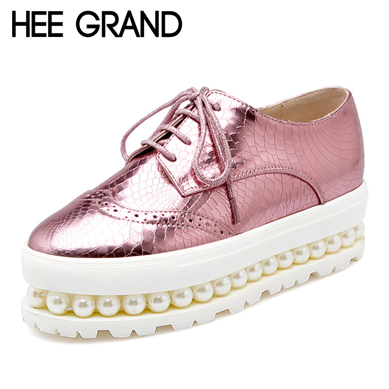 HEE GRAND Oxfords 2017 Patent Leather Creepers Pearls Platform Shoes Woman Flats Casual Women Shoes Size 34-43 XWD4104 bling patent leather oxfords 2017 wedges gold silver platform shoes woman casual creepers pink high heels high quality hds59