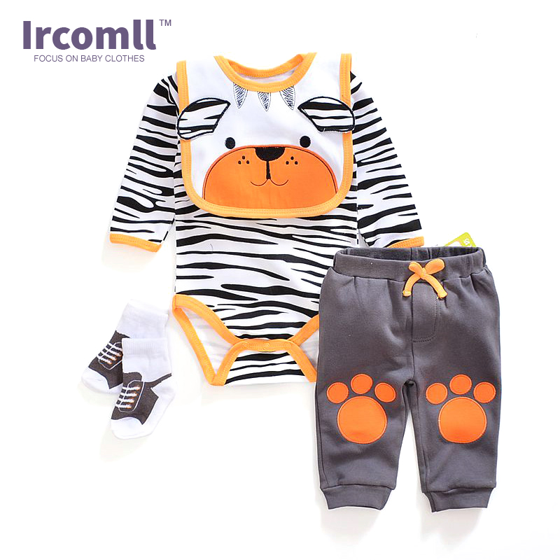 Newborn Baby Boy Birl Clothes Bodysuit + Pant +Bib +Socks 100% Cotton Character Infant Clothing Sets Baby Romper iyeal 2017 brand baby clothes newborn bodysuit pant bib socks cotton cartoon boy girl clothing set next infant baby costume