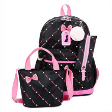 Children Backpack 3pcs/set School Bags For Girls School Backpack Satchel Kid Book Bag Cute Bow Satchel Schoolbag Mochila Escolar(China)