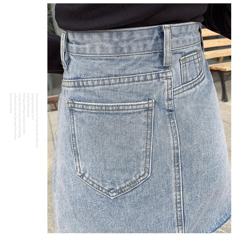 Jeans Azul Jean Alta Faldas Verano Casual Falda 2019 Mini Nueva Llegada Línea De Cintura Mujeres Q688 Denim Estilo Botón fBqcwSgx4