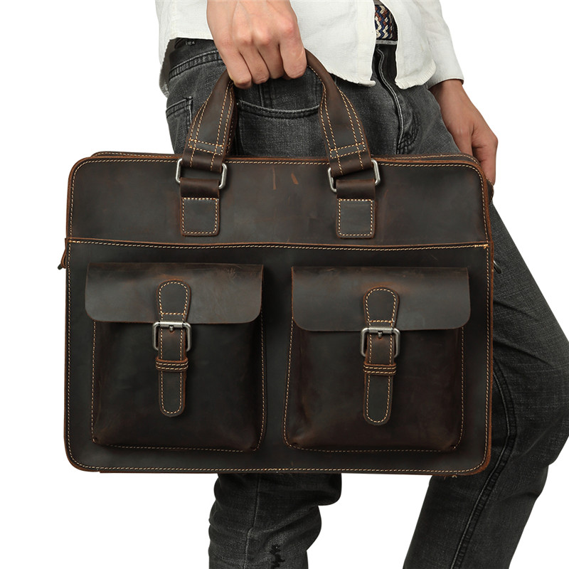 Nesitu Vintage Brown Durable Thick Crazy Horse Genuine Leather Men Briefcase Portfolio 14'' Laptop Men's Messenger Bags M6380