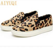 Купить с кэшбэком AIYUQI Women flat shoes 2019 new genuine leather female leopard print loafers, horse hair soft bottom one pedal lazy shoes women
