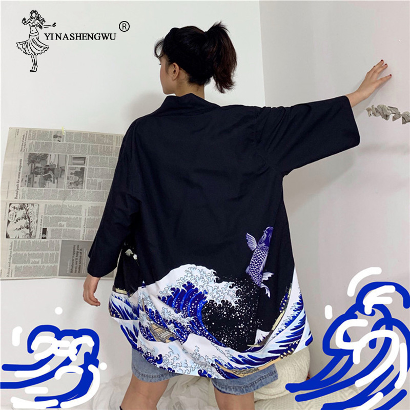 The Great Wave Off Kanagawa Japanese Traditional Orient Ethnic Harajuku Japanese Cardigan Kimono Couple Thin Loose Yukata Women