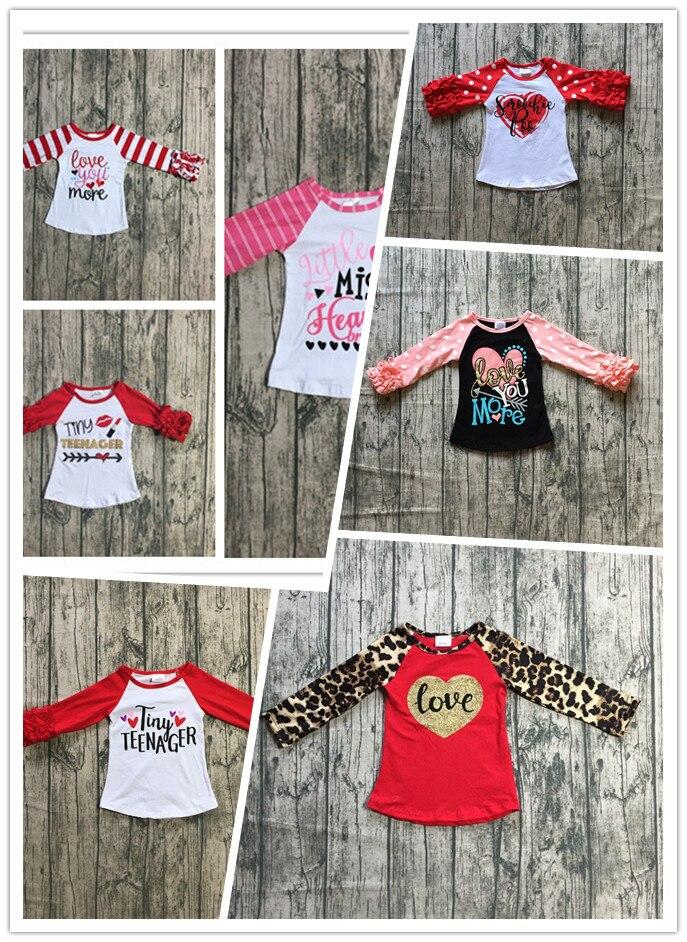 8 designs baby mädchen boutique raglans kleidung mädchen valentinstag kleines fräulein herz top tiny teenager top liebe sie mehr