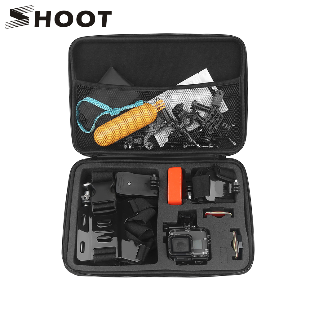 цена на SHOOT Portable Large Size Waterproof Camera Case Eva Hard Bag Box for Gopro Hero 7 6 5 5 4 Session SJCAM SJ4000 Xiaomi yi 4K Cam