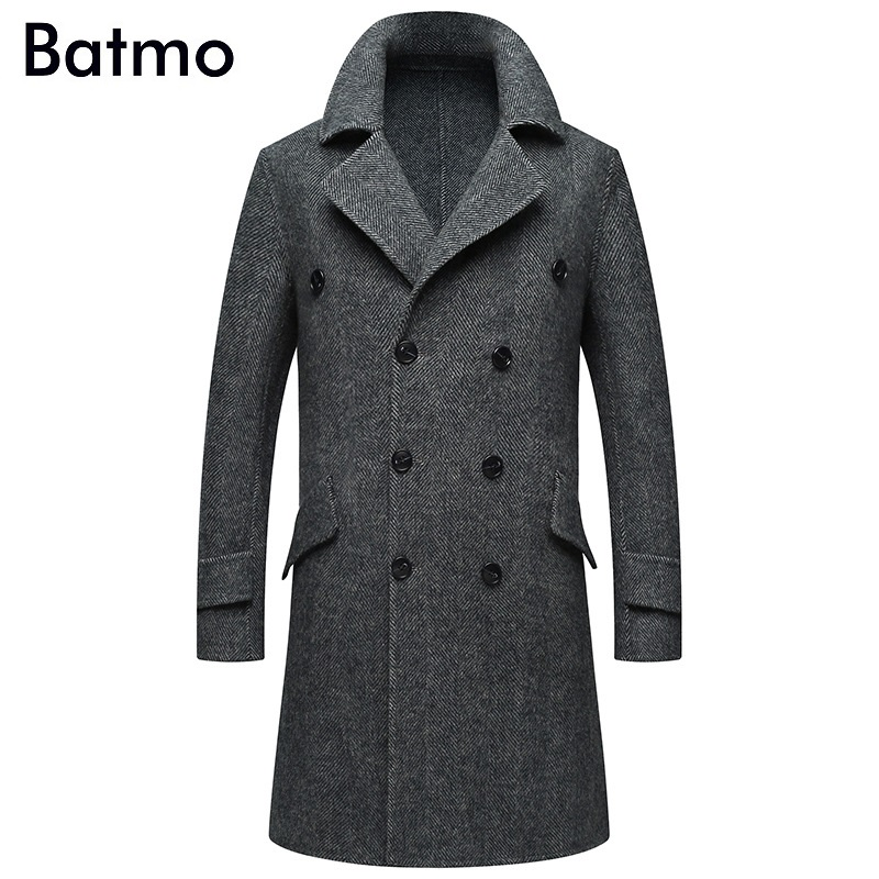 Batmo 2019 new arrival autumn&winter high quality 80% alpaca Double Breasted casual long trench coat men,men's gray jackets