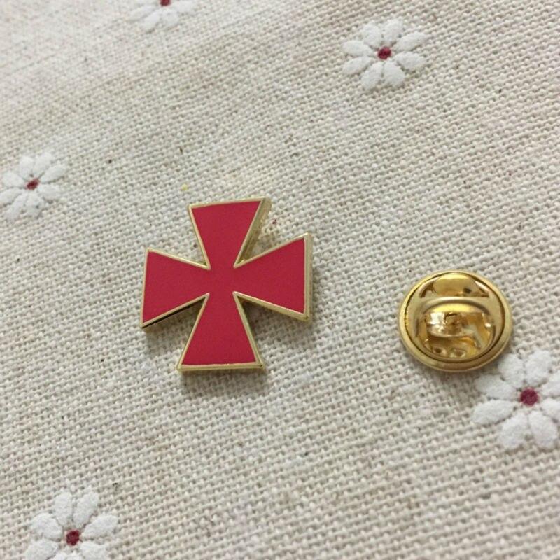 US $49 0 |50pcs Knights Templar malta cross masonic regalia lapel pin red  enamel brooch and pins Badge Free Masons Freemasonry-in Pins & Badges from