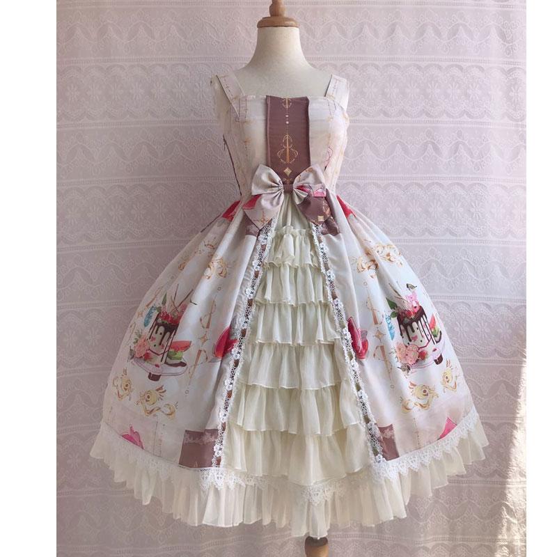 Icy deser ~ słodkie drukowane szyfonowa sukienka na imprezę potargane sukienka Lolita JSK przez Yiliya w Suknie od Odzież damska na  Grupa 3