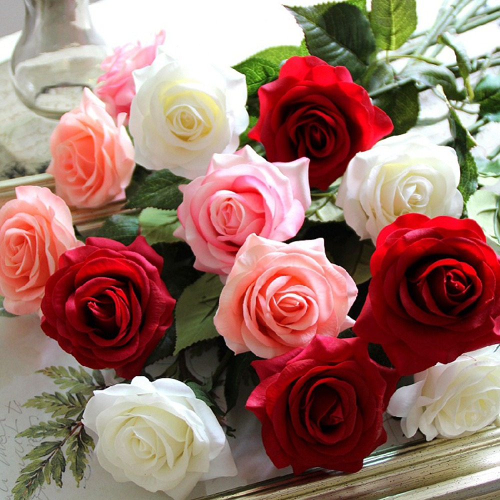 Aliexpress Buy 5pcslot Artificial Flowers Real Touch Rose