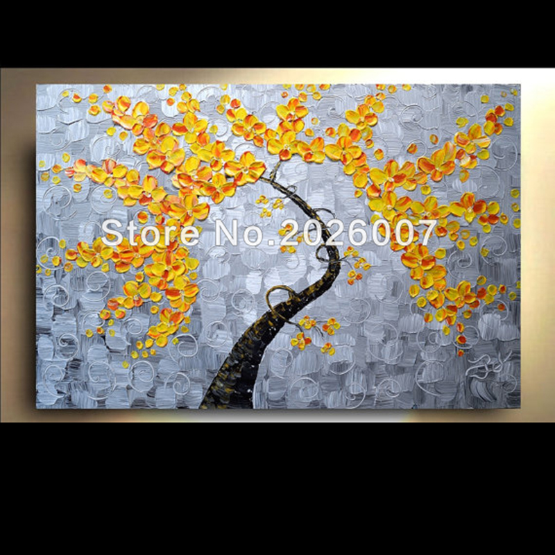 Hand Painted Grey Yellow Orange Fall Flower Tree Thick Palette Knife Oil Painting On Canva Modern Home Decoration Living Room
