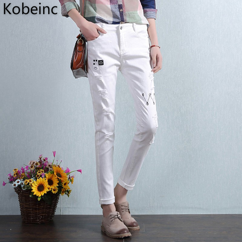 Kobeinc Distressed White Jeans For Women Summer 2017 New Casual Fashion High Waist Slim-Fit Cropped Jeans Trousers Jeans Femme kobeinc white jeans for women summer 2017 new casual fashion high waist printing slim fit cropped jeans trousers jeans femme