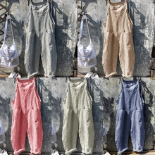 European and American Womens straps striped jumpsuit wide leg trousers overalls for women