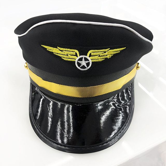 fd33ed1315099 Military Nautical Hat Black Wing Captain Cap Navy Marine Skipper Sailor  Military Nautical Hat Costume Adults Hot Sale -in Military Hats from  Apparel ...
