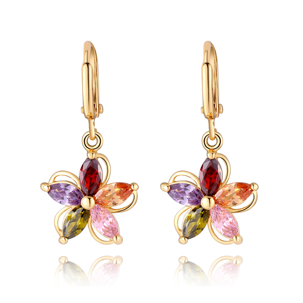 Colorful Flower Ear Ring Ear Stud Multicolor Flower Pendant Earrings for Women Vintage Drop Earring Wedding Accessories