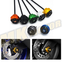 Blue Motorcycle CNC Aluminum Front & Rear Axle Fork Crash Sliders Wheel For Suzuki  GSR750 2011-2015 gsr 750 11-15 GSR 750  цены онлайн