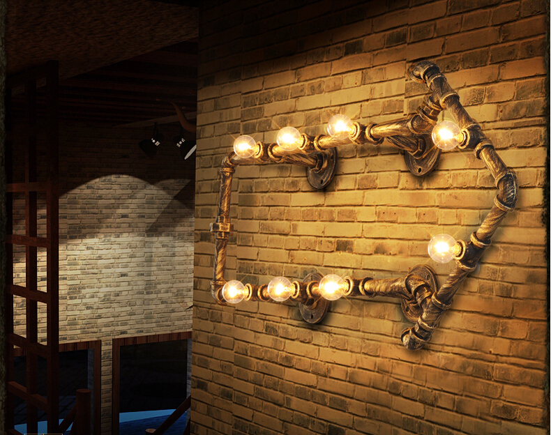 fashion wroguht iron Water pipe wall lamp vintage aisle lights loft iron wall lamp edison incandescent light bulb